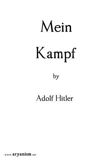 Hitler, Adolf – Mein Kampf - ARYANISM