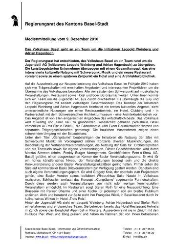 MM RR Vergabe Volkshaus - Immobilien Basel-Stadt