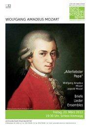 """WOLFGANG AMADEUS MOZART """"Allerliebster Papa"""" Briefe Lieder ..."""