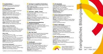 Zentralprogramm Januar – März 2013 - Evang. Bildungswerk ...
