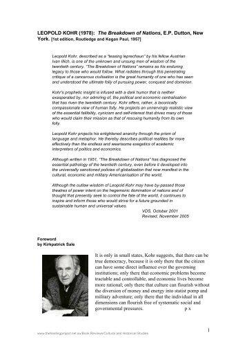 1 LEOPOLD KOHR - The Healing Project