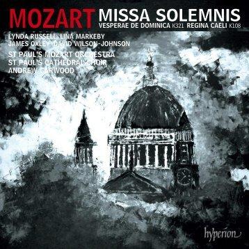 Mozart: Missa solemnis & other works - Abeille Musique