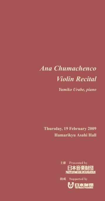 Ana Chumachenco Violin Recital