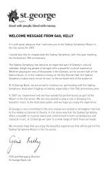 welcome message from gail kelly - Sydney Symphony Orchestra