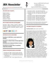 IMA Newsletter template - International Music Academy