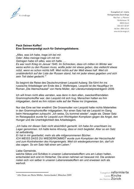Pack Deinen Koffer Ref Kirchgemeinde Zürich Enge