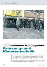 13. Aachener Kolloquium Fahrzeug- und Motorentechnik