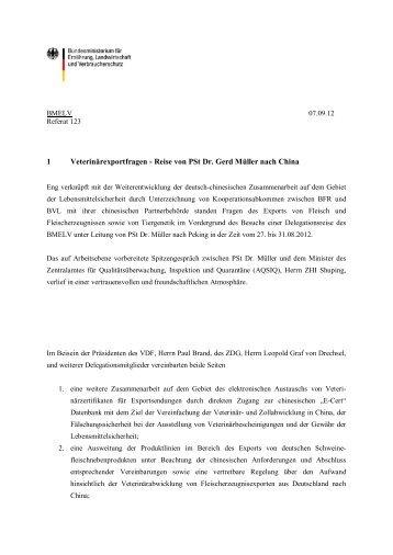 1 Veterinärexportfragen - Reise von PSt Dr. Gerd Müller nach China