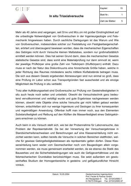 In situ Triaxialversuche - Geotechnisches Ingenieurbüro Prof. Fecker ...