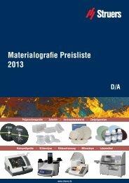 Materialografie Preisliste 2013 - Apsis