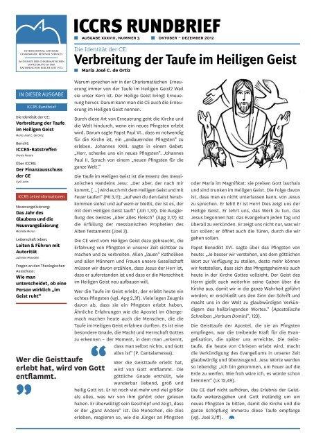 Verbreitung Der Taufe Im Heiligen Geist Iccrs
