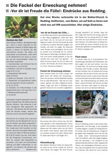 Bericht Redding USA Walter Wieland - Neues Land Emmental