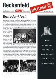 CDU-Aktuell Ausbabe September 2001 - CDU Reckenfeld