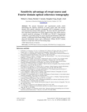 Sensitivity advantage of swept source and Fourier domain optical ...