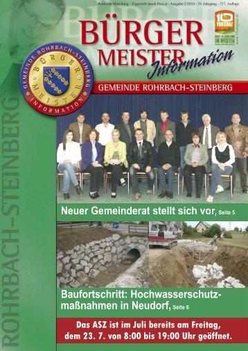 Neuer Gemeinderat stellt sich vor,Seite 5 Baufortschritt - Rohrbach ...