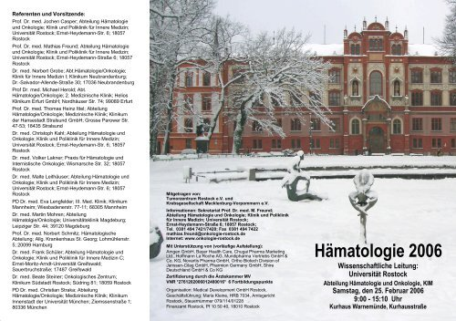 Ausführliches Programm (pdf) - Hämatologie und Onkologie Rostock