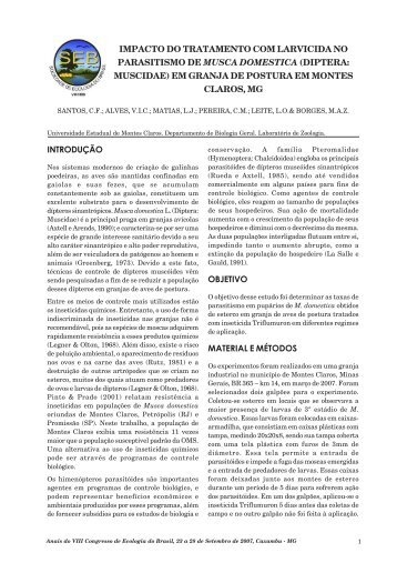 Impacto do tratamento com larvicida no parasitismo de