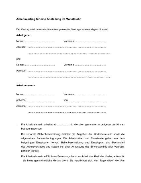 Muster Arbeitsvertrag Für Nannysharing