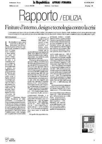 Rapporto/Edilizia - Finiture d'interno, design e tecnologia
