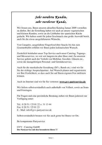 Katalog GVV Stand Januar 2009 - PDF - GVV-Catering GmbH