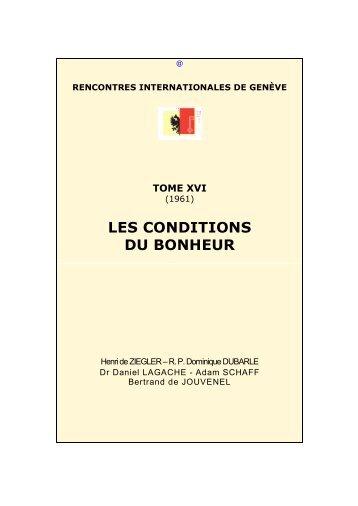 Les conditions du bonheur - Rencontres Internationales de Genève