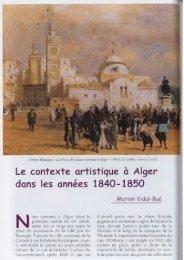 Le contexte artistique à Alger dans les années 1840-1850