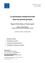 La dynamique entrepreneuriale dans les grands groupes