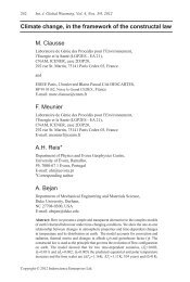 Climate change, in the framework of the constructal law M. Clausse ...
