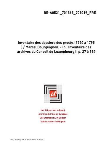 Conseil de Luxembourg. Dossiers de procès - Zoeken in het ...