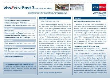 vhs Kleve vhsExtraPost3September 2012 - Volkshochschule Kleve