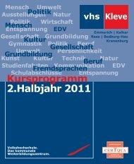 2.Halbjahr 2011 Kursprogramm - in Kleve