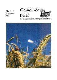 Gemeindebrief Oktober/November 2012 - Evangelische Kirche Asslar