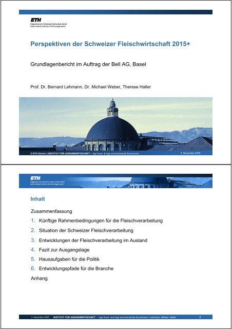 Perspektiven der Schweizer Fleischwirtschaft 2015+ - Bell AG