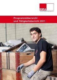 Jahresbericht 2011 ESRA Arbeitsintegration - Caritas Thurgau