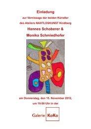 Einladung Hannes Schoberer & Monika Schmiedhofer - Galerie KoKo