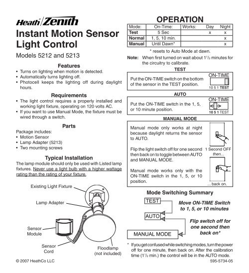 Motion Sensor Light Control Heath Zenith