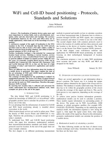 WiFi and Cell-ID based positioning - Protocols, Standards ... - SNET