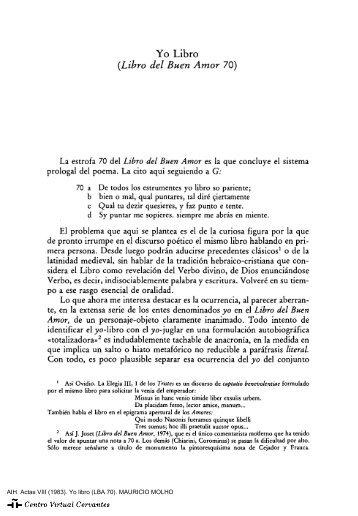 Actas VIII. AIH. Yo libro (LBA 70). MAURICIO MOLHO