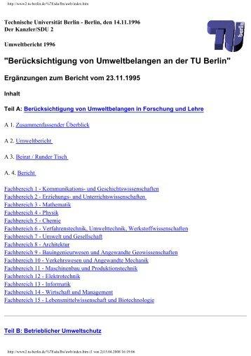 """""""Berücksichtigung von Umweltbelangen an der TU Berlin"""""""