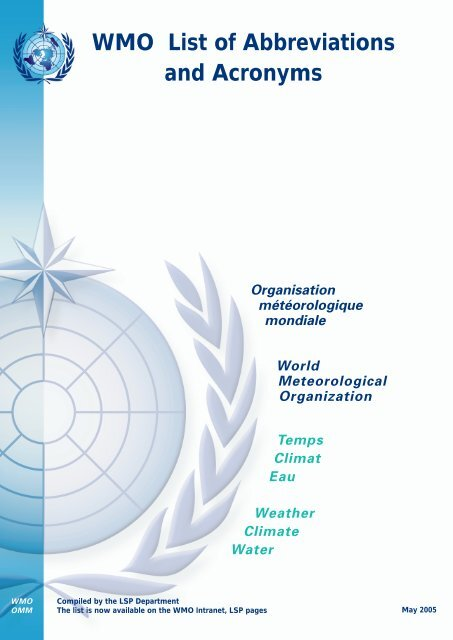 Wmo List Of Abbreviations And Acronyms Organisation