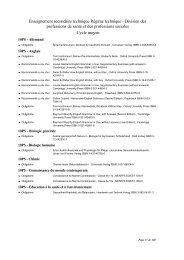 Enseignement secondaire technique Régime technique - Division ...