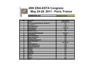 49th ERA-EDTA Congress May 24-29, 2011 - Paris, France