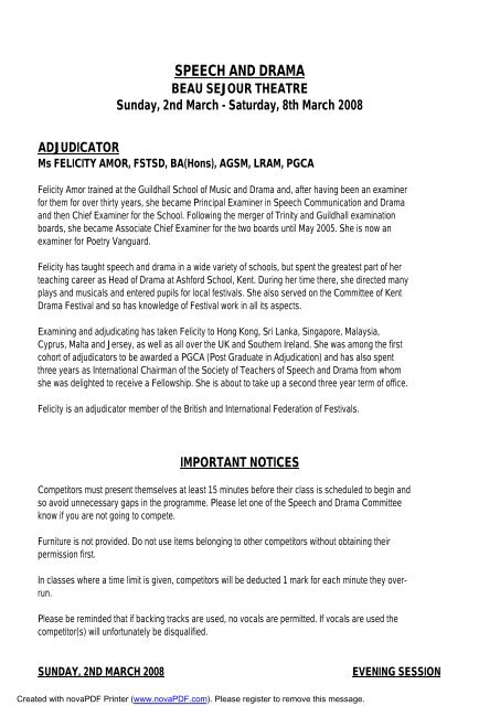 SPEECH DRAMA EISTEDDFOD 2008 - Guernsey Eisteddfod