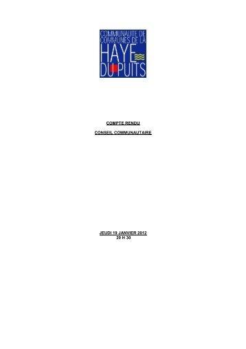 Conseil du jeudi 19 janvier 2012 - Communauté de communes La ...