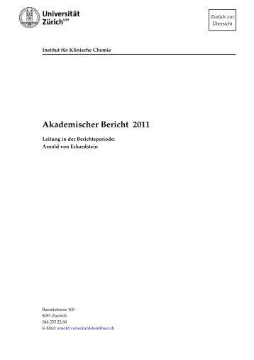 2011 (pdf) - Institut für Klinische Chemie - UniversitätsSpital Zürich