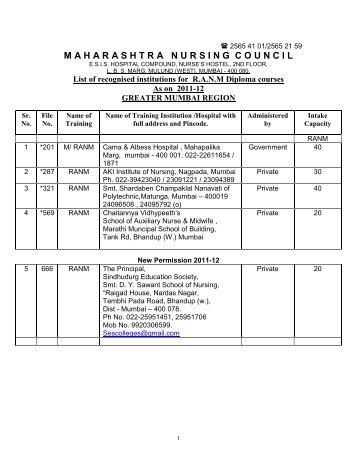 mumbai region - Maharashtra Nursing Council