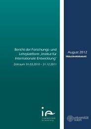"""Bericht der Forschungsplattform """"INTERNATIONALE - Institut für ..."""