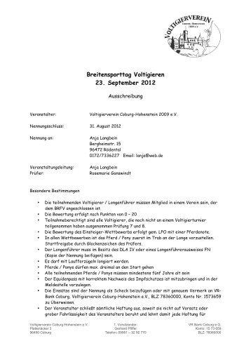 Breitensporttag Voltigieren 23. September 2012 - Voltigieren in Bayern