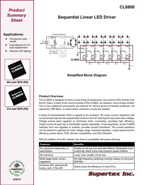 CL8800 Sequential Linear LED Driver - Supertex