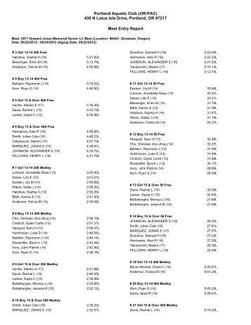 PAC Entries - Portland Aquatic Club